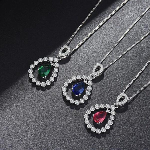 colar de diamante colorido para mulher prata banhado austríaco vermelho verde azul cristal charme gemstone pingente colar atacado