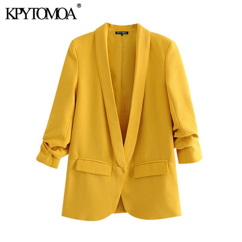 KPYTOMOA Femmes Bureau de mode Portez des blazers de base Blazers Manteau Vintage Poches à manches longues plissées Femme Vêtements de dessus Chic Tops 201102