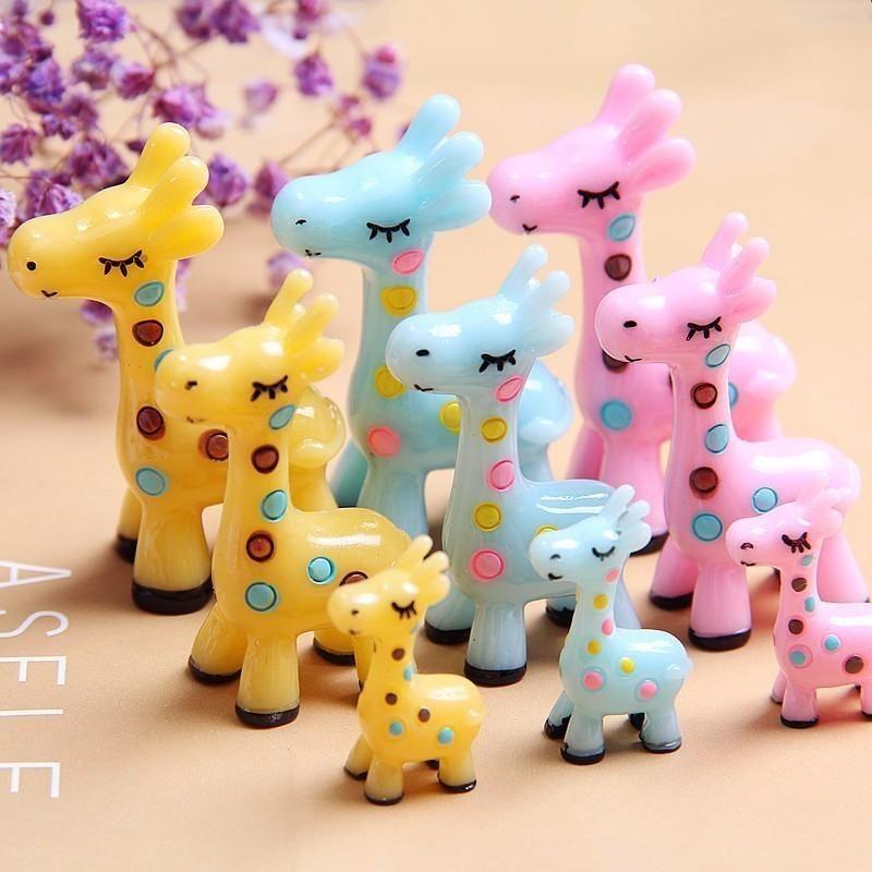 3PC Jirafa Familia Familia Decoración Miniatura Animal Figurine Resina Artesanía Mini Decoración de Jardín Ornamento Inicio Accesorios DIY