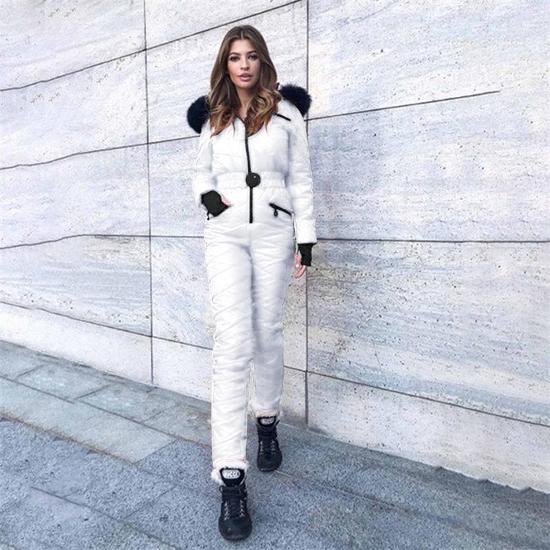 Winter mit Kapuze Jumpsuits Parka Elegante Baumwolle Gepolsterte Warmschärpen Skianzug Gerade Reißverschluss Einteil Frauen Casual Sports Trainingsanzug
