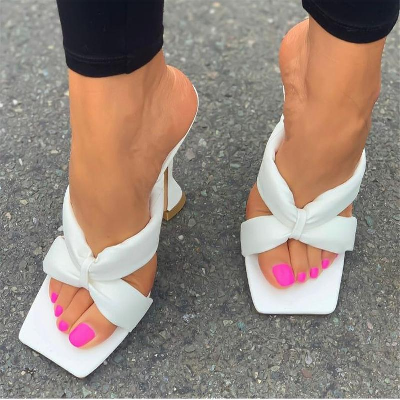 2021 Fashions da donna 10.5 cm Slides High Slifts Bianchi Designer Cinture Aperto tacco scarpe D9sb