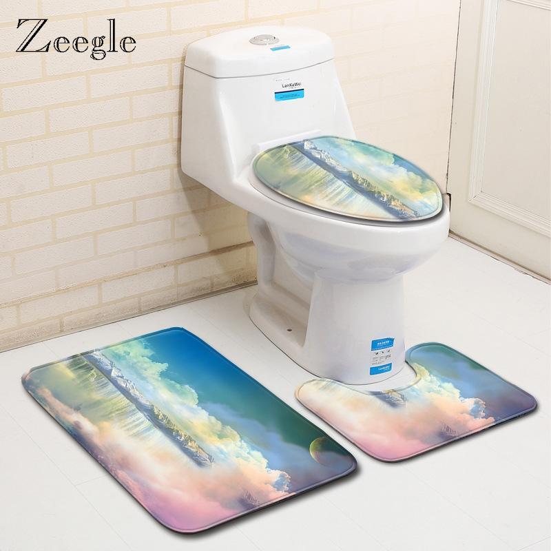 Zeegle Baño Alfombra franela de espuma de memoria Alfombra de baño WC la puerta Mats antideslizante baño Tapetes Alfombras WC Ducha