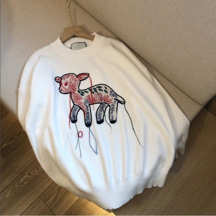 Damenmode FRANDED FAWN-Gestickte Pullover-Hemd gestricktes langarmes T-shirt Rundhals-beiläufiger Pullover Kostenloser Versand