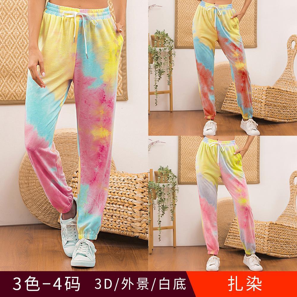 2 색 S-XL 여성 유행 섹시한 새로운 스타일 숙녀 홈 착용 캐주얼 스포츠 넥타이 염료 인쇄 Drawstring 바지 바지 32621774923121