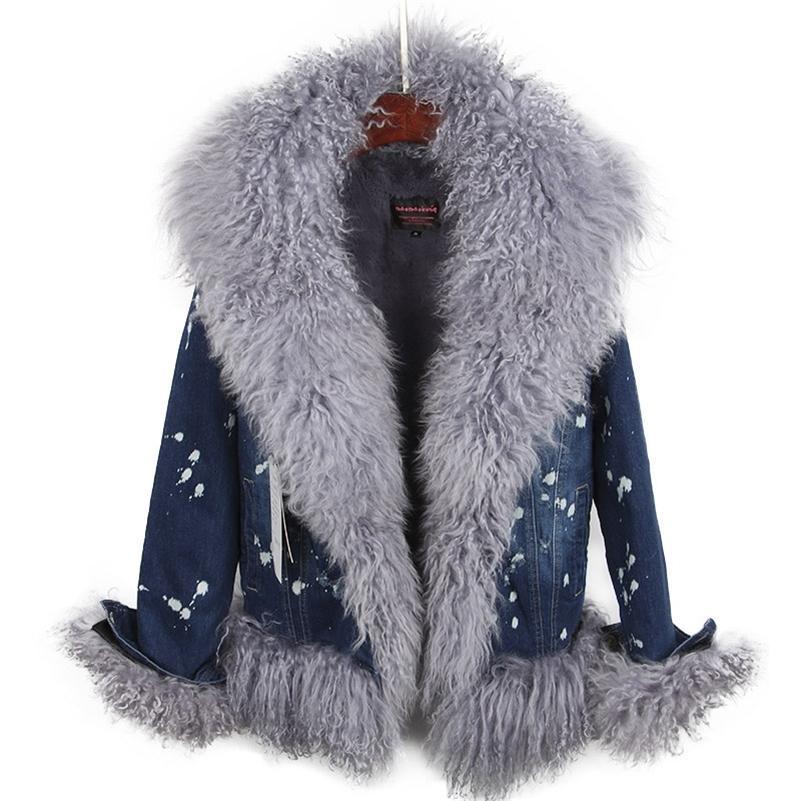 Doğal Yün Lüks Yün Kürk Yaka Denim Ceket Kış Rahat Sıcak Moda Kısa Kürk Ceket 201215 ile kaplı