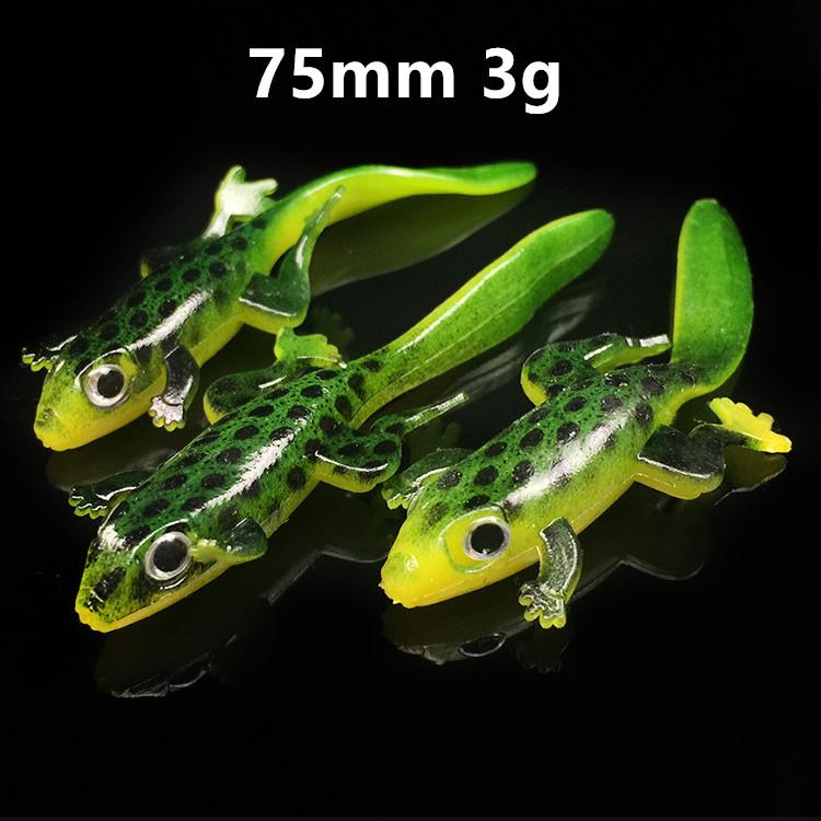 20 unids / lote 75 mm 3 g 3D Ojos 3D Elliot Frog Silicona Pesca de silicona Cebos suaves Seures Pesca Pesca Tackle B148_198