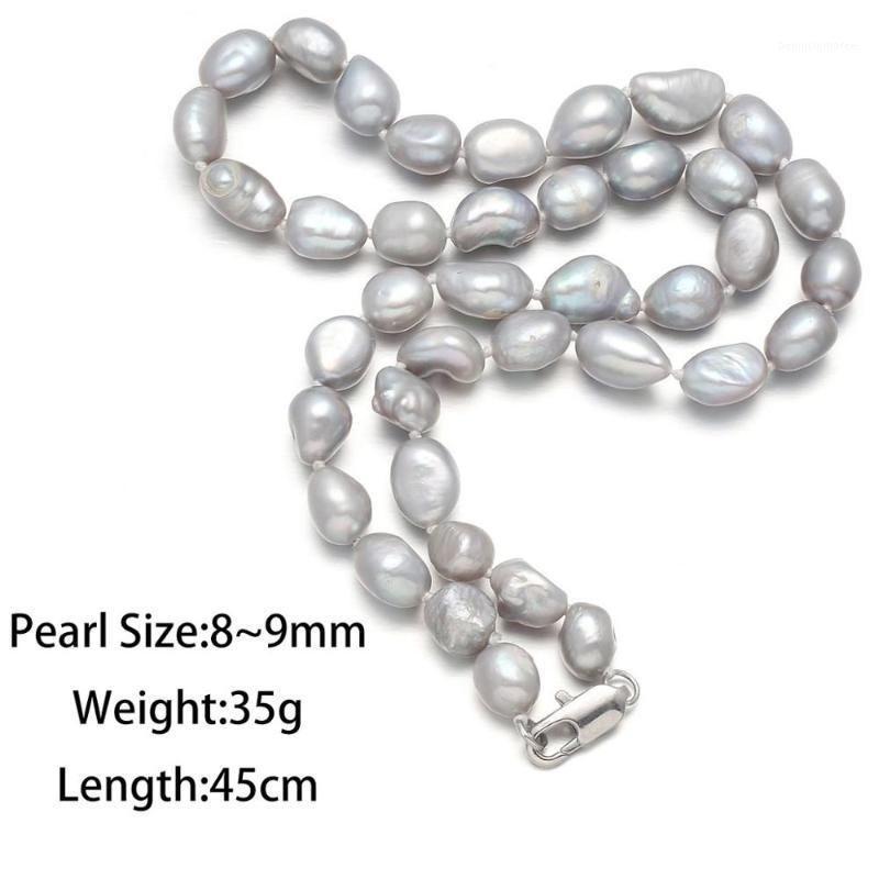 Collana di perle d'acqua dolce naturale puro per donna lampada a luce grigia Grey nave classica eleganza stile perline: 8-9mm Catene: 45cm1