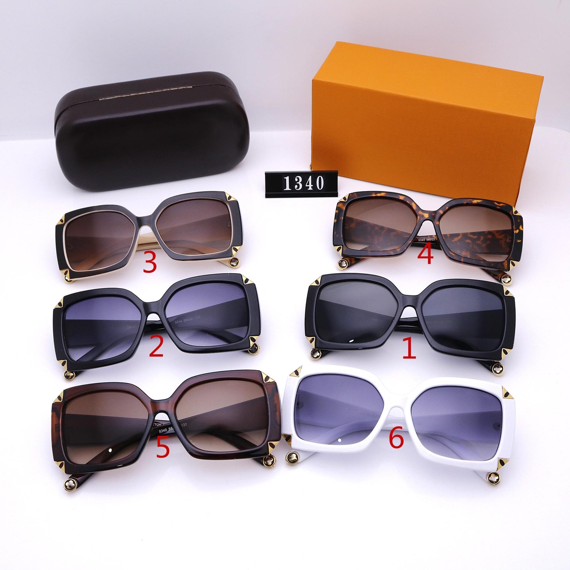 ستة ألوان أزياء نظارات شمسية للرجال والنساء المصممين الفضي جودة عالية HD الاستقطاب عدسات إطار كبير القيادة نظارات 1340