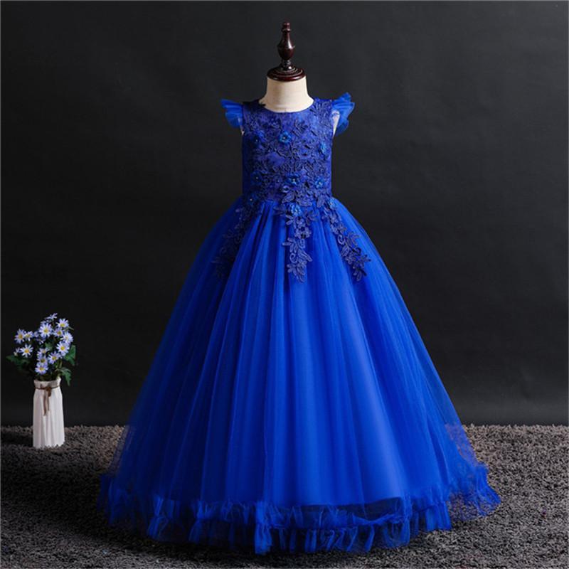 Fancy Princess Party Dresses for Girls Long Sleeveless Flower Party Ball Gown Evening Dresses Kid Prom Wedding Children Dress F1130