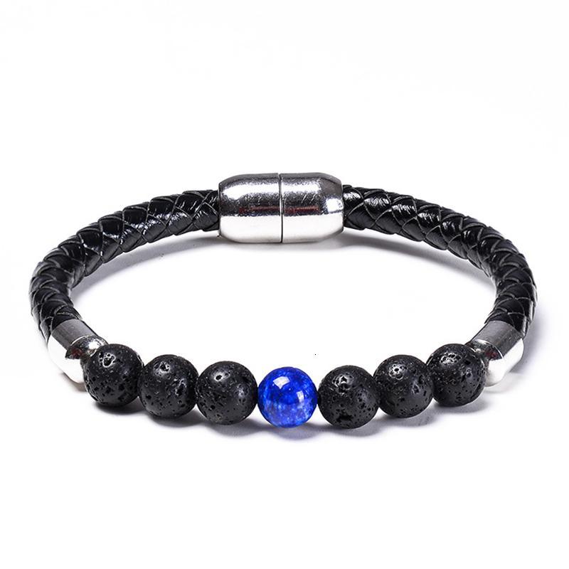 Bead Rope Bracelets Men Chakra Black Bracelet Leather Magnetic Buckle