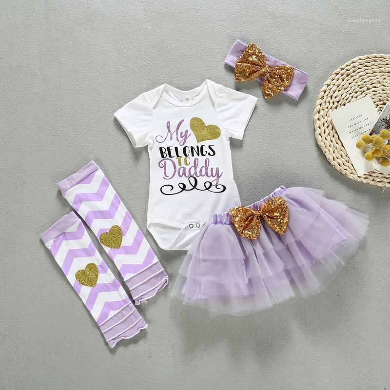 Устанавливает одежды Baby Girl Милая уникальная буква напечатана с коротким рукавом комбинезон сплошной цветной мини-сетки юбка из двух частей SET1
