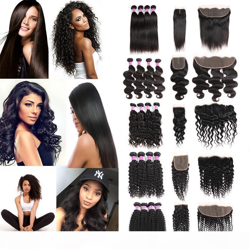 Ventiles vierges brésiliennes Forfaits d'eau profonde Courby Cross Humain Hair Weave Bundles avec fermeture frontale Extensions de cheveux Wefts