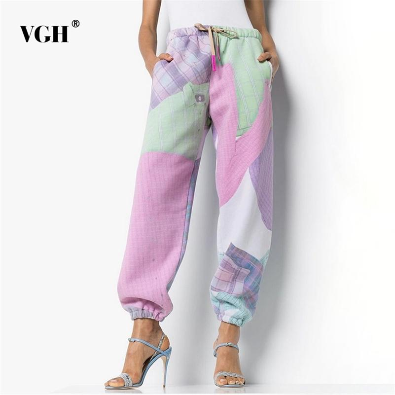 VGH Harem Pants For Women Mid Waist Lace Up Print Hit Color Loose Pockets Casual Pant Female Autumn New Clothing Tide 201106