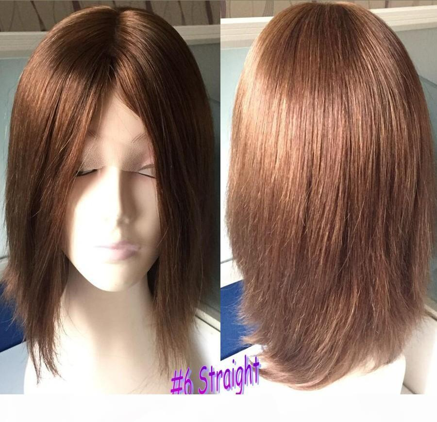 4x4 Silk haut perruque juive couleur brun foncé n ° 2 Meilleur Sheitels Finest Mongol Vierge Cheveux humains Couleur Brun Black # 6 Perruques Casher Livraison Gratuite
