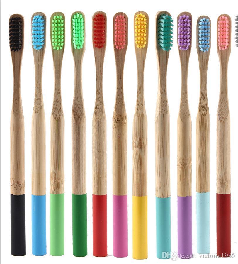 Spazzolino da denti Bambù amichevole con maniglie colorate Setole medie Biodegradabili Assistenza orale senza plastica Adulti Spazzolino da denti Bambù