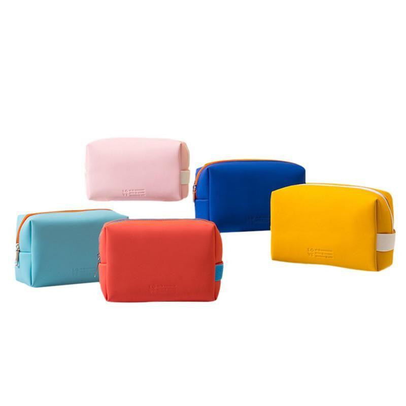 Mulheres meninas saco de higiênico mulheres multi-funcional doces cor sacola de maquiagem para festa de viagem portátil PU couro cosmético