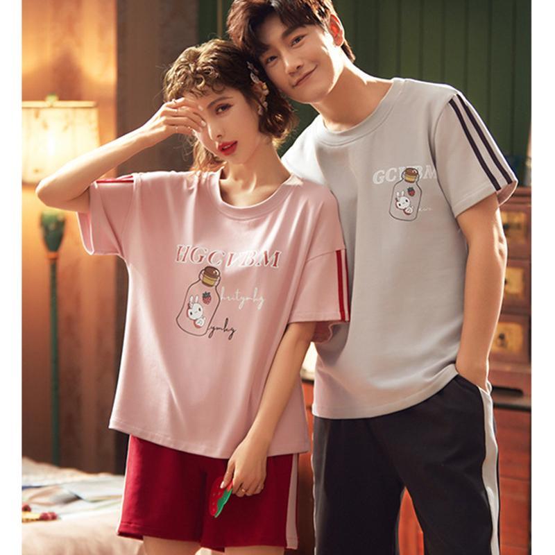 Juli-Lied Paare Pyjamas Sets Beiläufige Patchwork Cartoon T-Shirt Shorts Nachtwäsche Komfortable weiche Baumwolle Nachtwäsche Homewear y0112
