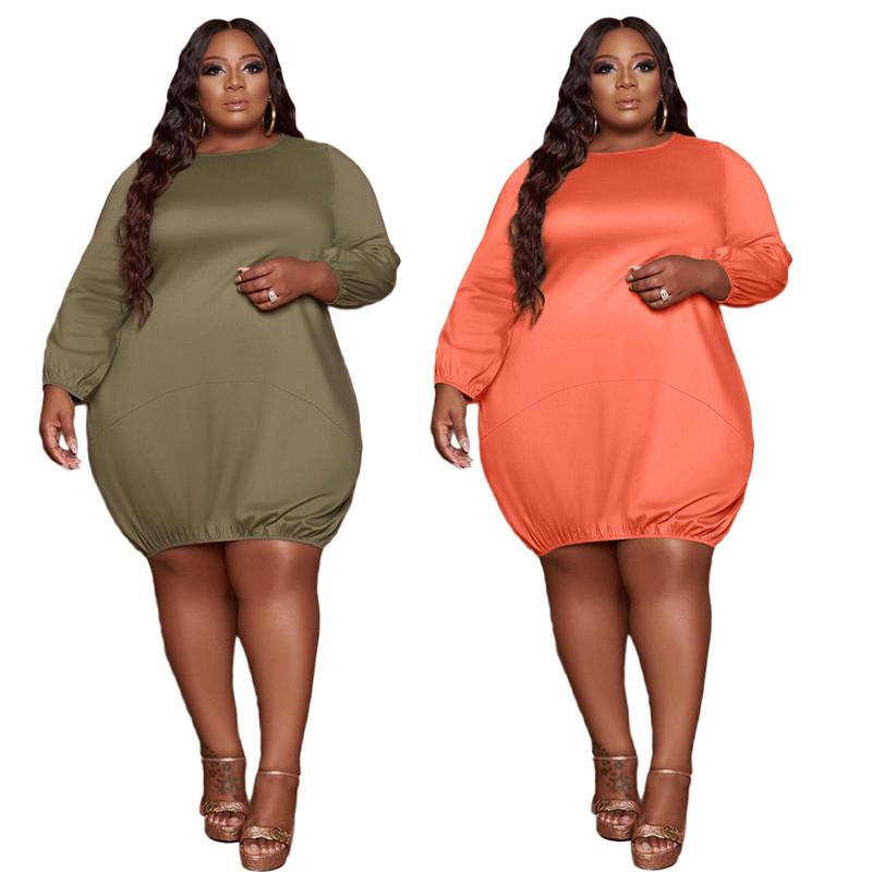New Style Plus Size Dresses for Women 5xl Party Solid Soft Fabric Stretch Midi Dress Fall Clothes Wholesale Dropshipping