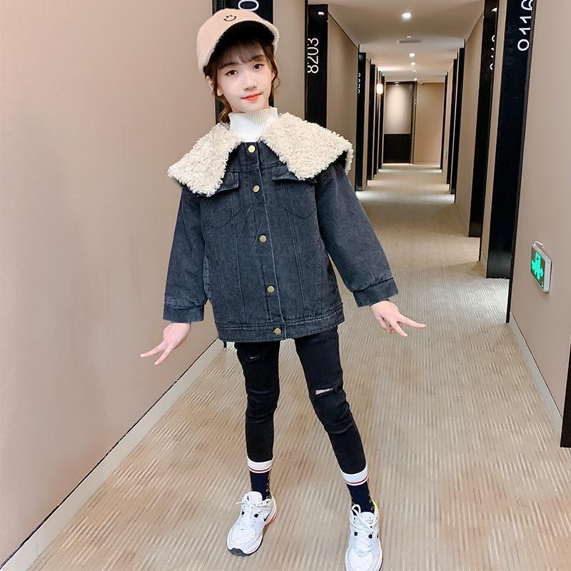 Meninas jaqueta jean 2020 inverno novo estilo espesso jaqueta coreano-estilo grande colarinho de pele