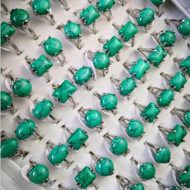 Top Women Fashion Turquoise Green Stone Anillos plateados plateados Joyería entera Bulk Lots Envío gratis PS2488
