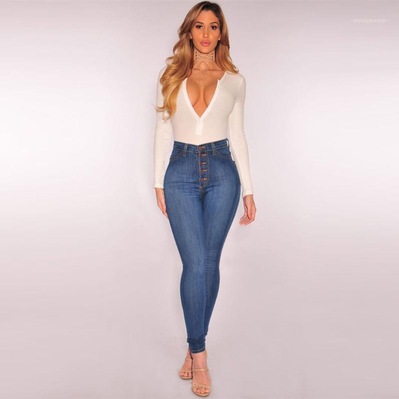 Donne Ladies High Waist Jeans Skinny Matita Jeans Denim Jeans Stretch Slim Fitness Pantaloni Pantaloni Blu Skinny1