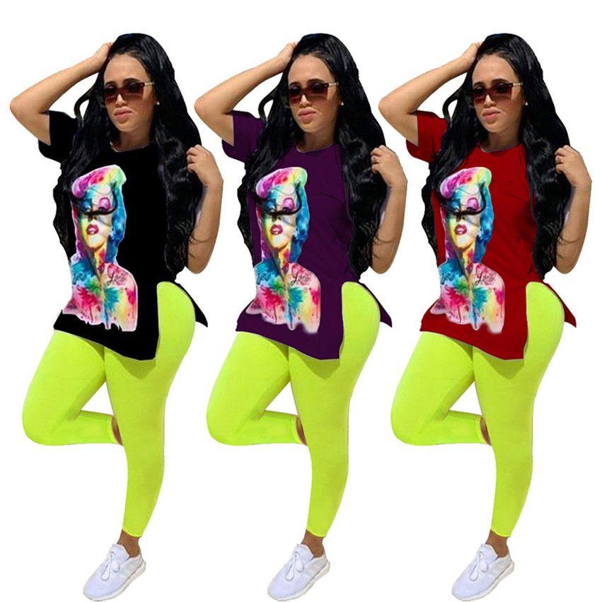 Vêtements pour femmes Deux morceaux Tenue Leggings à manches courtes SweatSuits S-2XL T-shirt Pants Tracksuits Automne Summer Spring Jogger Costumes 4370