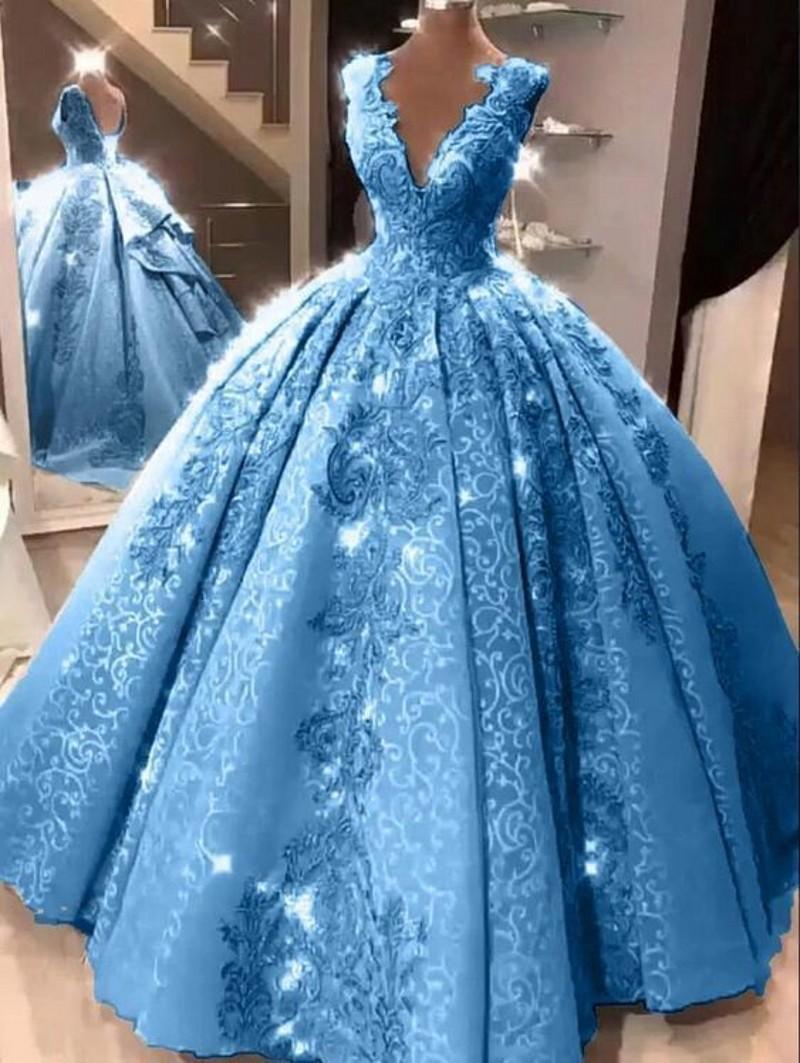 Blau Ballkleid Quinceanera Kleider mit V-Ausschnitt Appliques Spitze-Abschlussball-Partei-Kleider für Mädchen 15 Jahre Crost Zurück