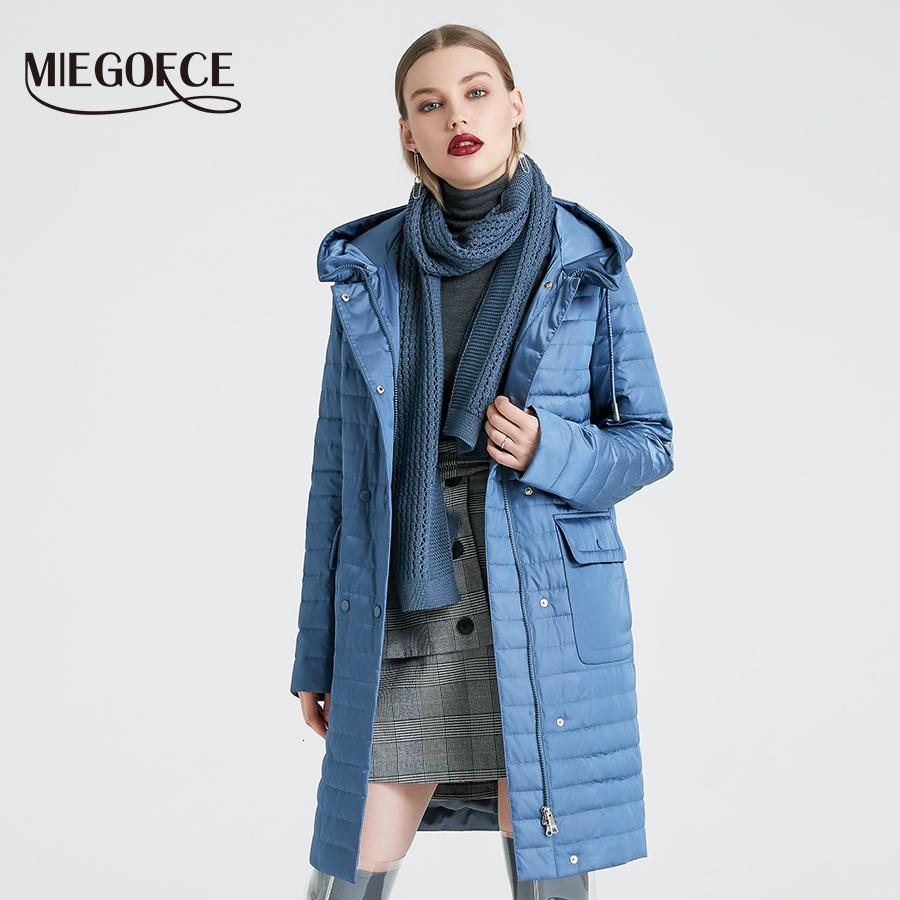 Hood ve Patch ile MIEGOFCE 2020 Yeni Koleksiyon Kadın İlkbahar Ceket Şık Coat Rüzgar Hendek 2E0C Çift Koruma Cepler