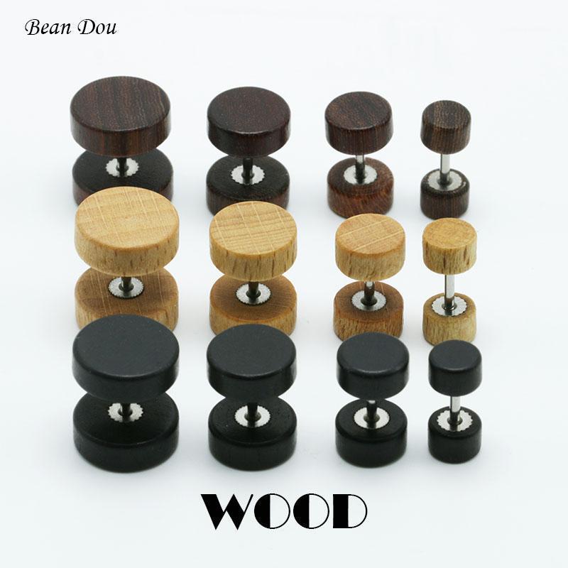 Bolzen 1 Paar Mode Holz Ohrstecker Ohrringe Natürlich Braun Schwarz 6mm 8mm 10mm 12mm Punk Barbell Fake Plugs Brincos Für Männer Frauen1