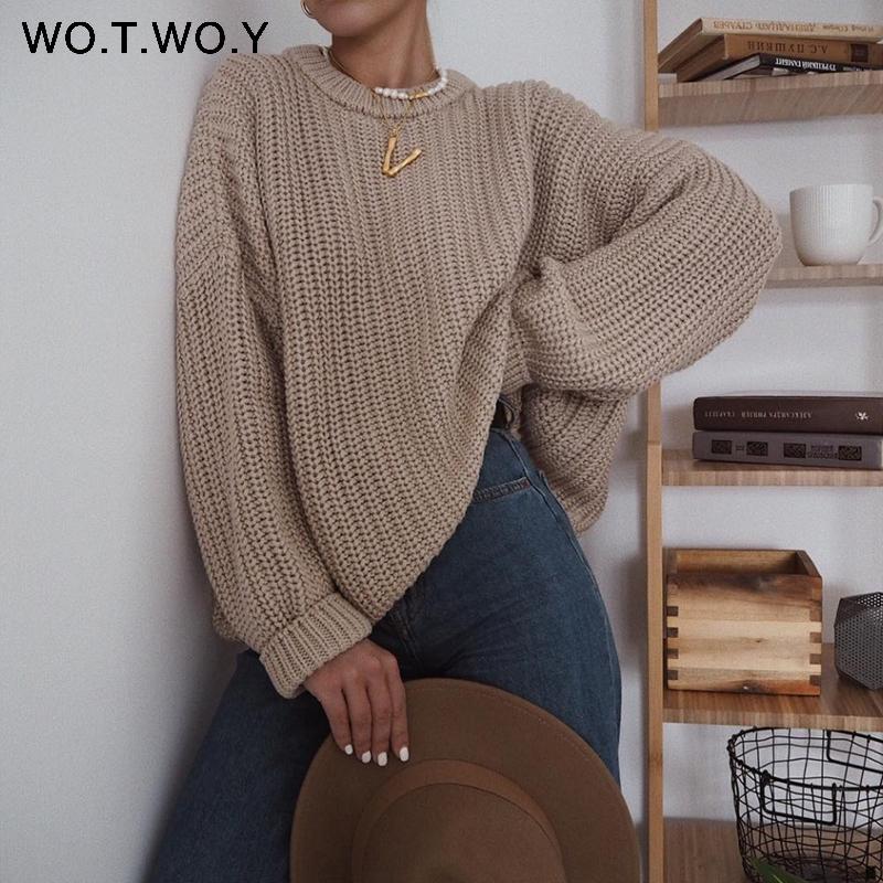 Wotwoy elegante outono suéter enorme mulheres sólidas suaves de malha suéteres mulheres manga longa pulôver feminino jumper cashmere novo 201030