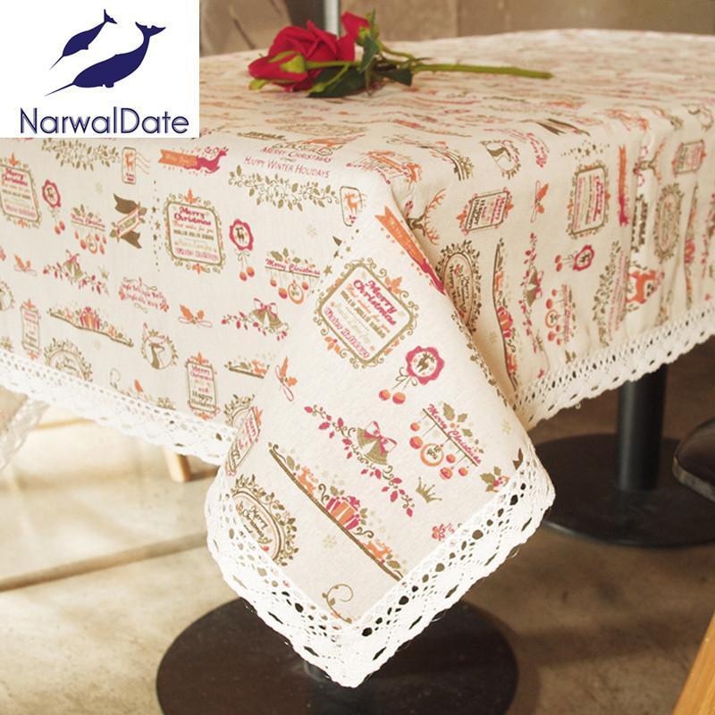 Linha de impressão do teste padrão da toalha de mesa do Natal dos desenhos animados com a tampa da tabela da casa do Colth da borda do laço para jantar e mesa