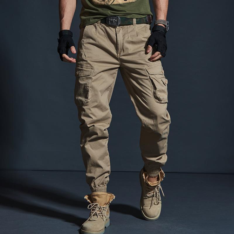Alta Qualidade Kaki Casual Homens Militares Tactical Jogadores Camuflagem Carga Multi-bolso Fashions Black Exército Broek