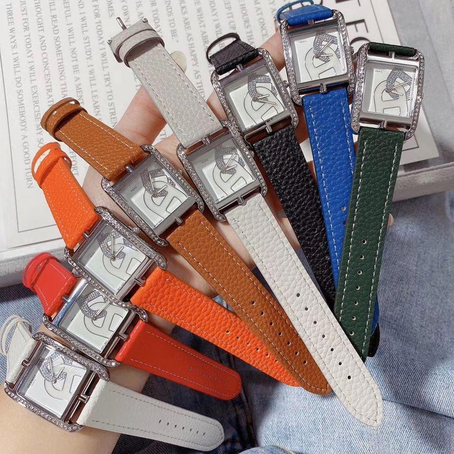 Moda Marka Saatler Kadınlar Için Kız Kristal Dikdörtgen Stil Deri Kayış Kuvars Bilek İzle He02