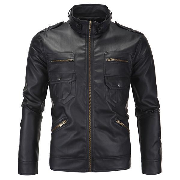 Erkekler PU Ceketler Bahar Moda Standı Yaka Erkek Ceket Motosiklet Slim Fit Erkekler Giyim Brand Giyim SA504
