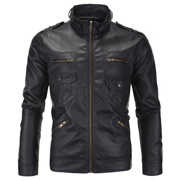 Homens Pu Jaquetas Primavera Fashion Fashion Collar Casaco Masculino Motocicleta Slim Fit Homens Outerwears Marca Vestuário SA504