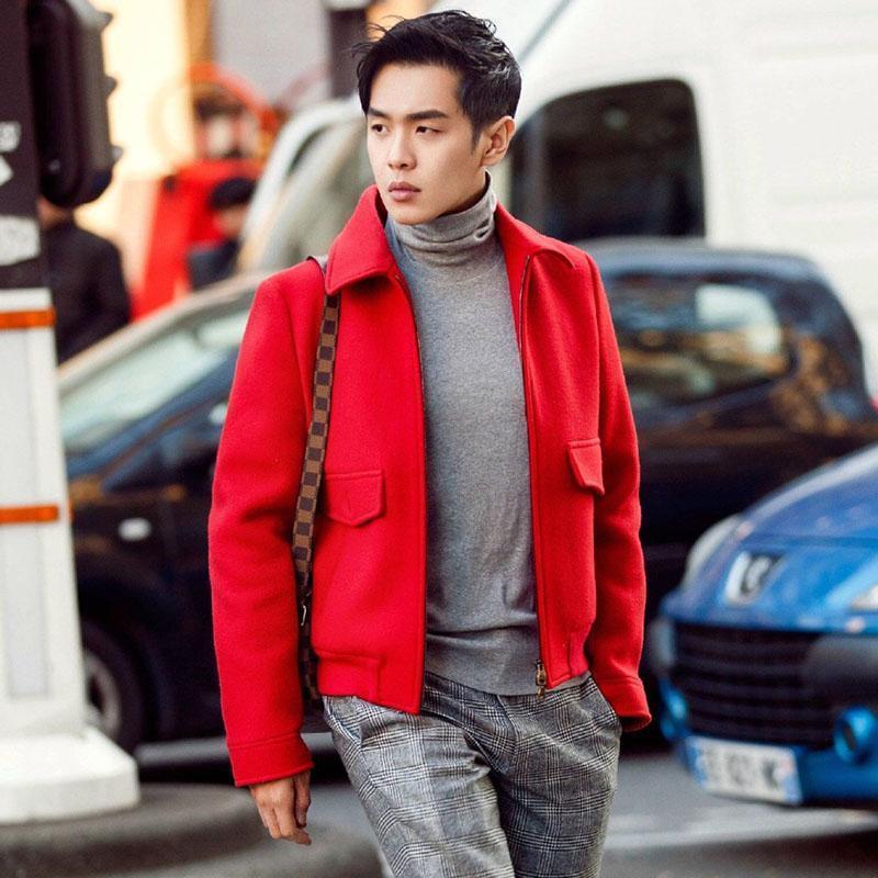 2019 Automne et hiver Nouveau manteau de laine courte chemise décontractée manteau en laine de laine pour hommes Zipper coiffeur coiffeur marée mâle1