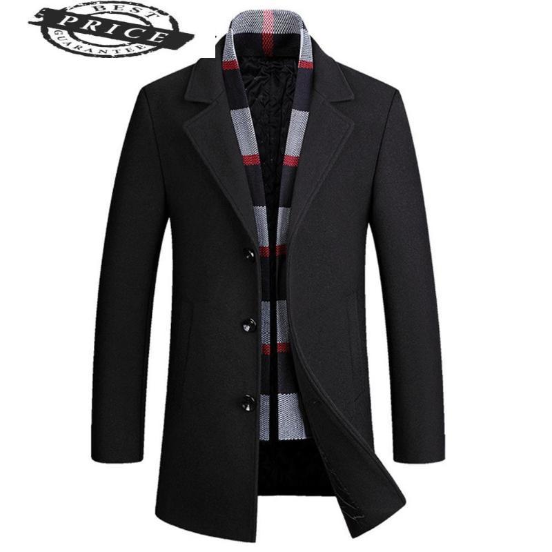 Elegante uomo in lana rimovibile cappotti sciarpa giacche in lana misto business giacca da business slim singolo petto con comfot patacot 22290