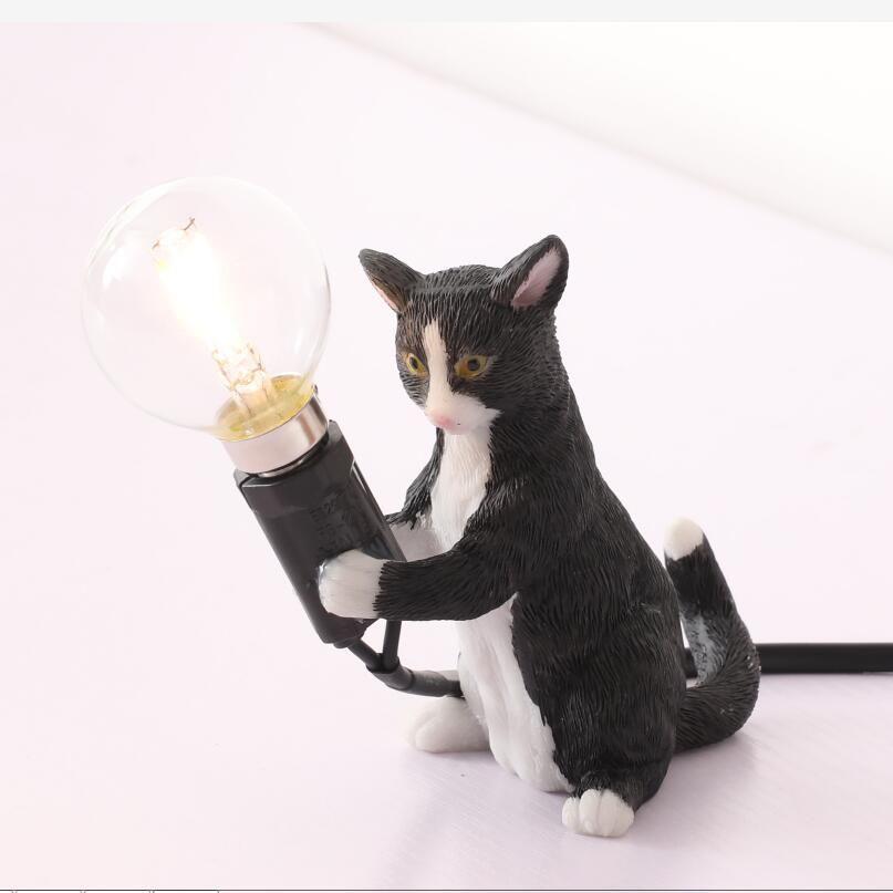 Sanat Beyaz Siyah Gri Kedi Kitty Masa Işıkları Lamba AB / ABD Fiş Küçük Hayvan Masa Lambası Işıkları Çocuklar Hediye Odası Dekore Gece Lambası