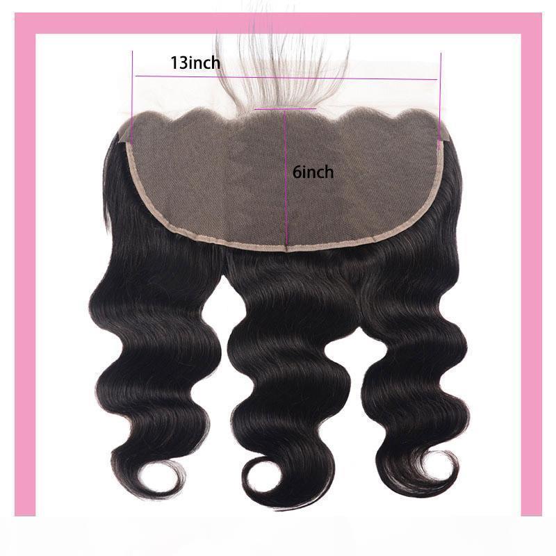 Malaisien cheveux vierges 13x6 dentelle de lace de lace de corps frontale 8-24inch treize treize sur six fermeture en dentelle avec fermetures de cheveux bébé Couleur naturelle