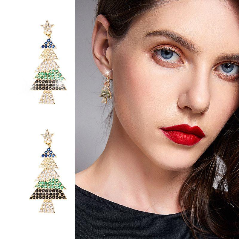 Novo estilo marca coreana moda personalidade árvore de natal brincos temperamento mulheres s925 prata agulha high-end zircon brincos jóias