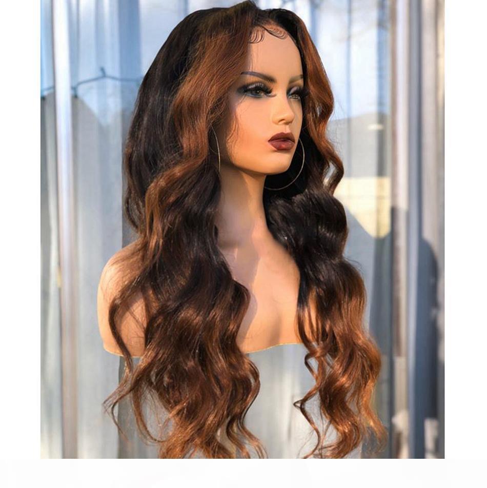 Ombre Vurgula Peruk Kahverengi Bal Sarışın Renkli Dantel Ön İnsan Saç Peruk Dalga Dantel Frontal Peruk Remy