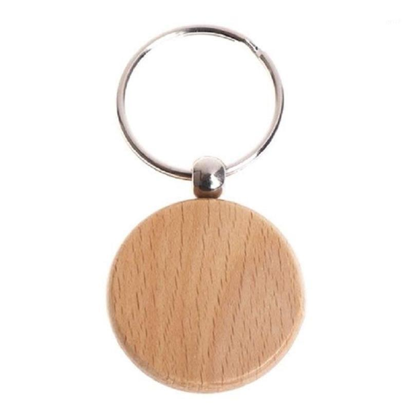 20 шт. Пустой круглый деревянный брелок DIY деревянный брелок ключ бирки подарок1