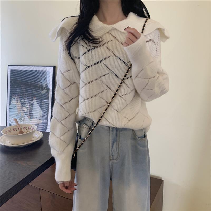 Hkcp mode frauen pullover lässig massive umrückende kragen office dame gestrickte pullover langarm winter 2020 neu