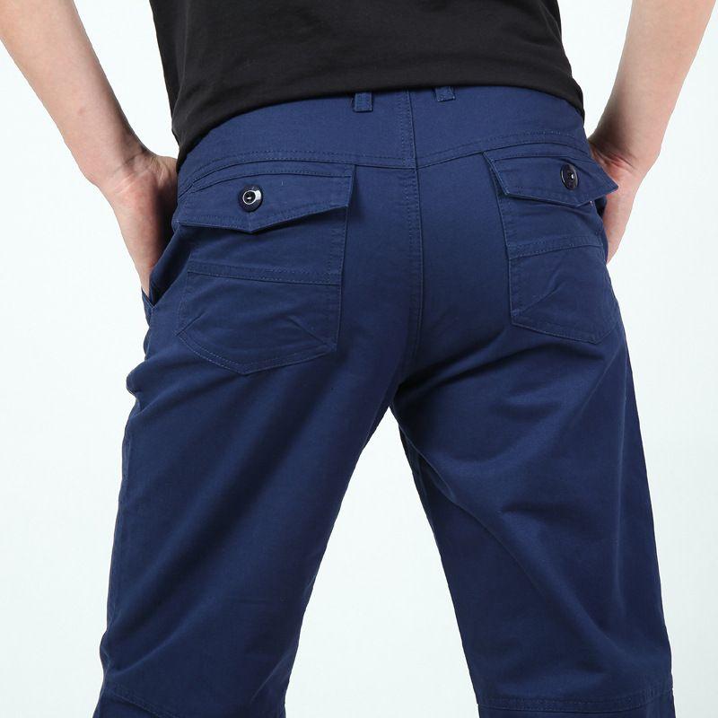 Algodón al aire libre Casual suelto Monos Pantalones grandes Pantalones rectos Hombres Cintura mediana alta 7096