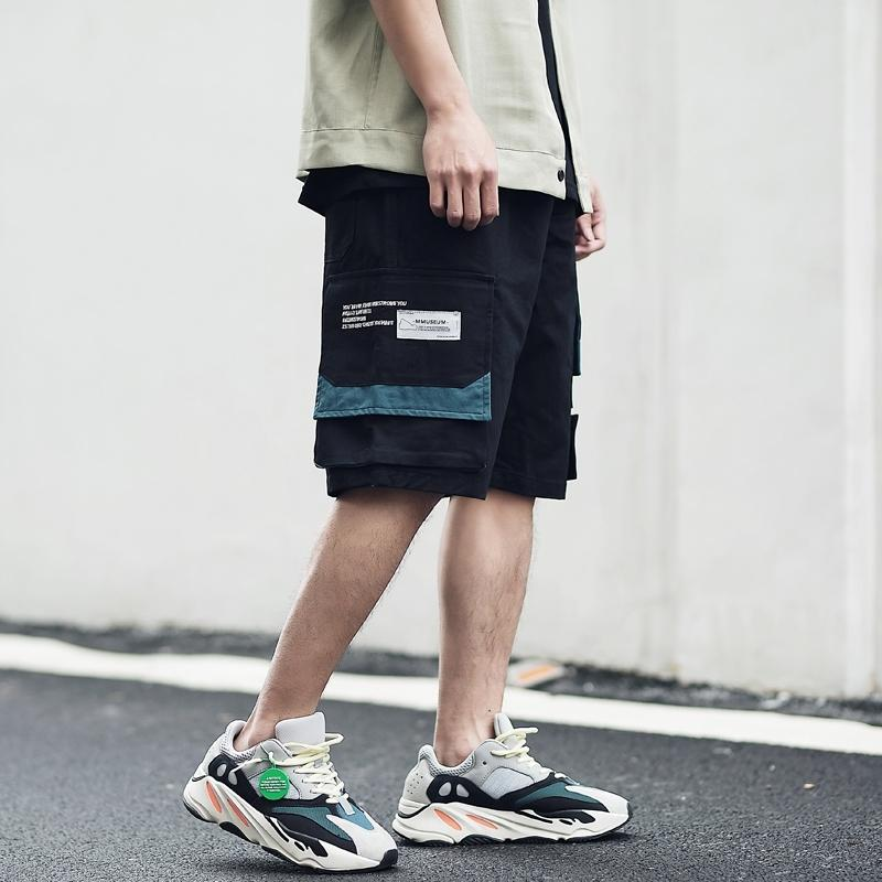 Hombre Harajuku Joggers Shorts Streetwear Hip Hop Cargo Bolsillo Color Bloque de color Bloque de verano Bolsa de algodón corto Pantalón de sujeción T200422
