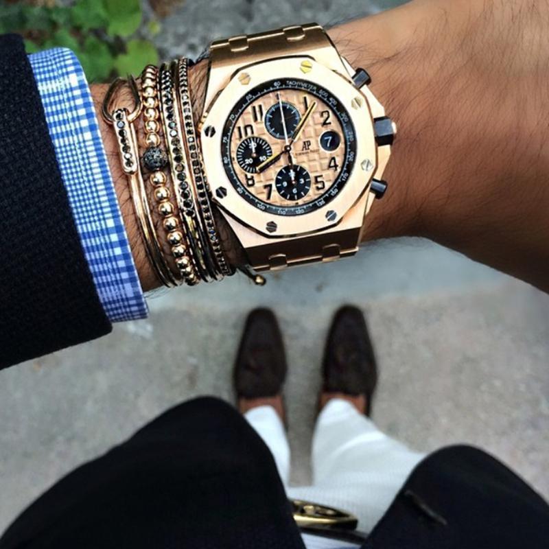 Nouveaux hommes Bracelets Gold Couleur Perles Micro Pave Black CZ Perles Anil Arjandas Briahing Bracelet Macrame Femmes Hommes Bijoux Cadeau