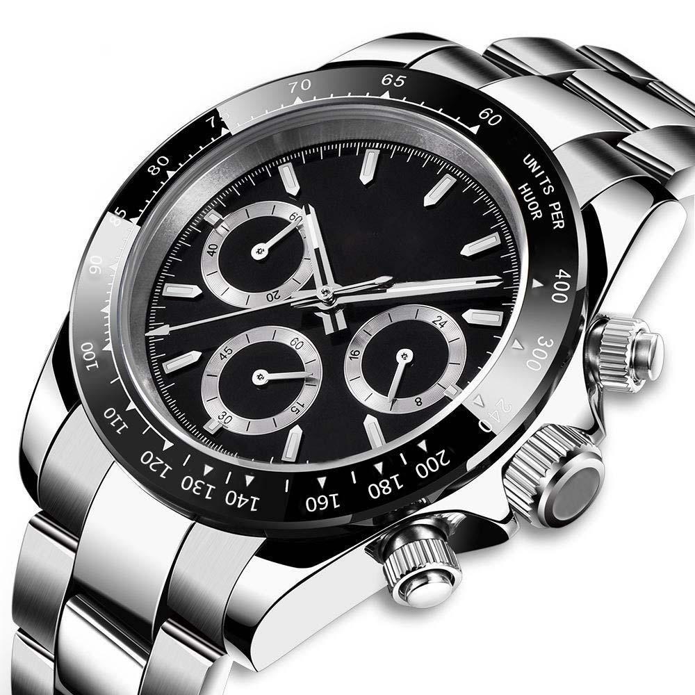 Cronógrafo de trabalho de couro preto Cronômetro de couro preto Movimento de quartzo de aço inoxidável homens relógios de relógios de estilo de moda Montre de Luxe