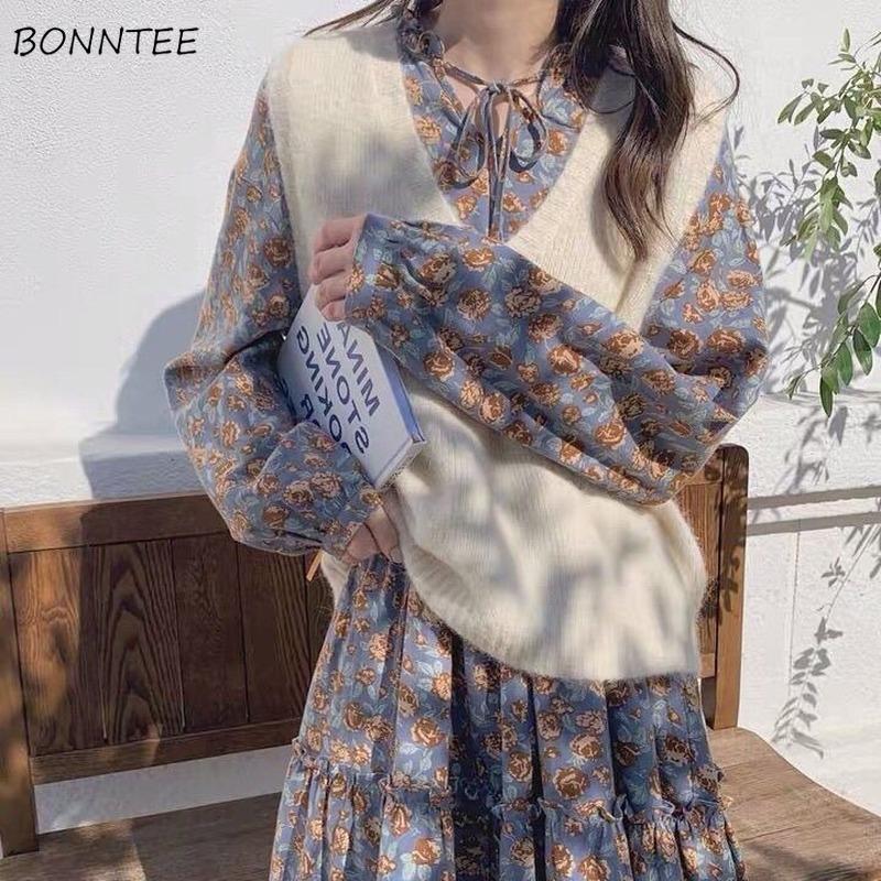 Frauen Trainingsanzüge Frauen Sets 2 Stück V-Ausschnitt Westen Pullover Loose All-Match A-Linie Kleid Floral Gedruckt Retro Eleganter Mode Temperament Lad