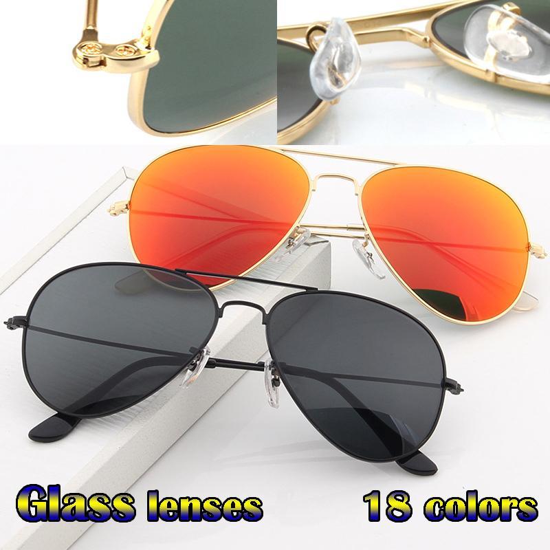 Vintage Pilot Hommes Femmes 58mm 62mm UV400 Vitre de miroir Verre Verre Lunettes de soleil avec étuis Conduite Muigv