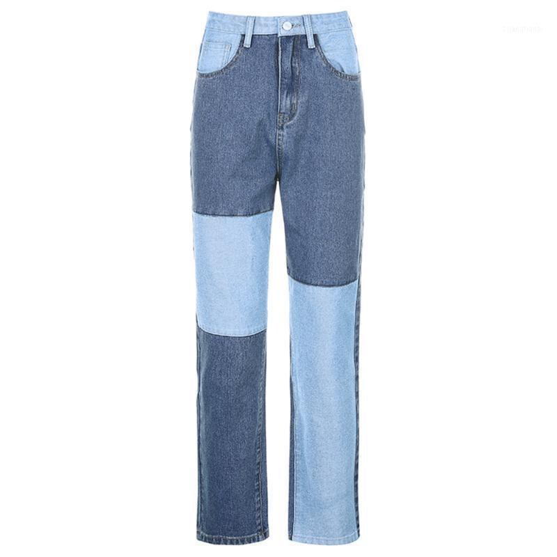 Donne jeans Pantaloni Patchwork Hit Color High Rise Demin Long Dritto Pantaloni Dritto Fashion Cargo Pantaloni Streetwear Autunno Long1